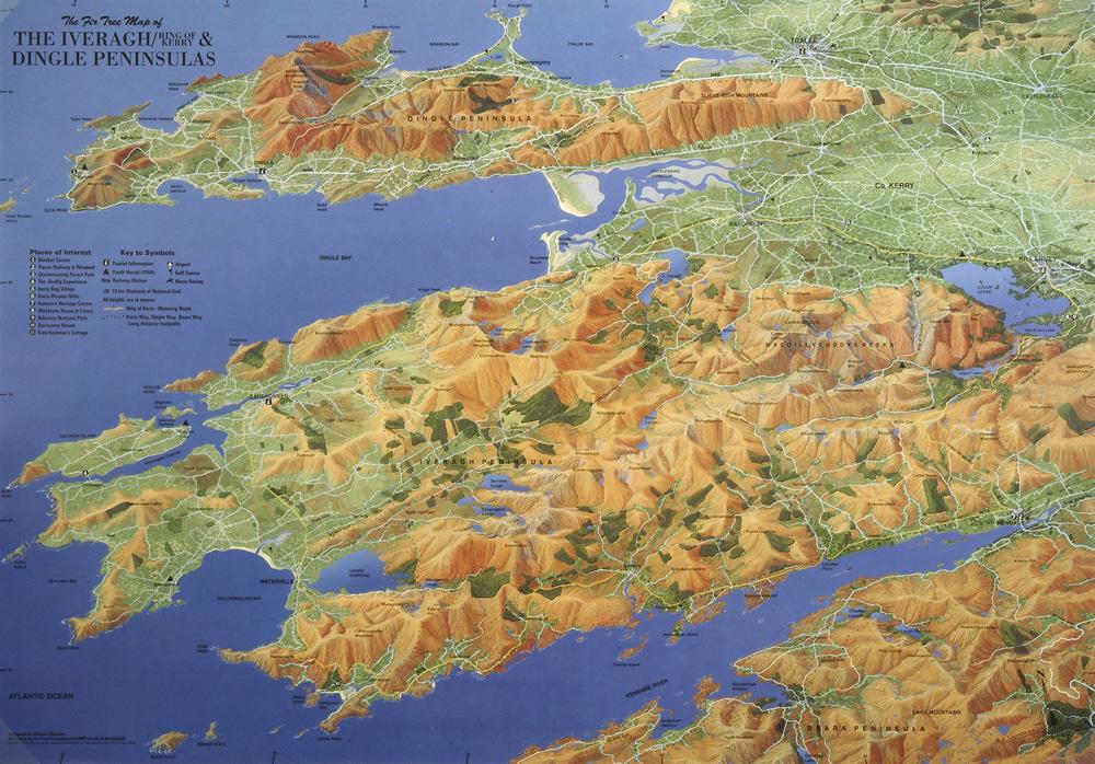 Dingle Bay Ireland Map.The Iveragh Peninsula Co Kerry Ireland Byways